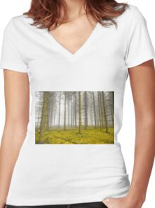 Mystical forest with fog and yellow foliage Women's Fitted V-Neck T-Shirt
