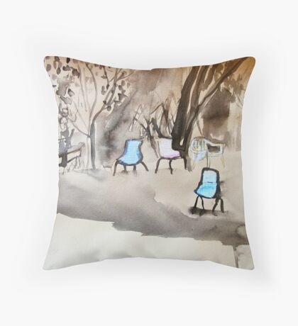 chairs on coloured paper Throw Pillow