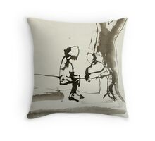 mother and child at play Throw Pillow