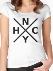 NYHC - New York Hardcore Logo Black Font Women's Fitted Scoop T-Shirt