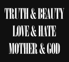 Truth & Beauty, Love & Hate, Mother & God (White Design) (Manic Street Preachers) by jezkemp