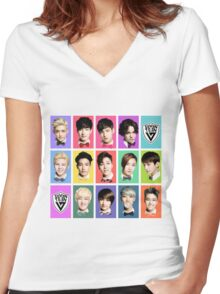 SEVENTEEN Faces Women's Fitted V-Neck T-Shirt