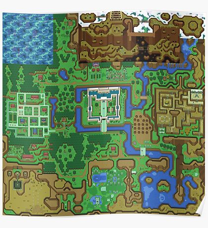 The Legend of Zelda: A Link to the Past Map Poster