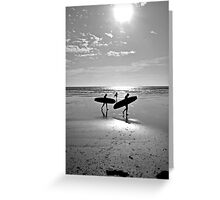 """""""Board at the beach, St Ouen's Bay, Jersey"""" Greeting Card"""