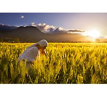 Girl in a golden field Photographic Print