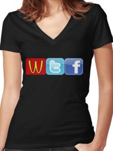 WTF Mcdonalds, Twitter And Facebook Women's Fitted V-Neck T-Shirt