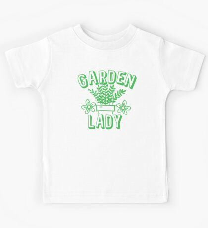 Garden Lady (with green pot plant) Kids Tee