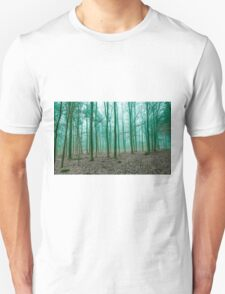 Mystical Forest in the fog in Green T-Shirt