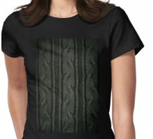 Green plait sweater cloth texture Womens Fitted T-Shirt