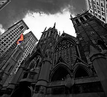 First Presbyterian Church: Black White Version with USA Color Flag by creativeburn