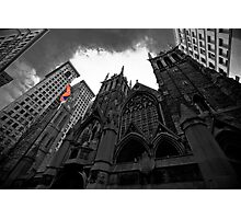 First Presbyterian Church: Black White Version with USA Color Flag Photographic Print