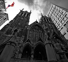 First Presbyterian Church, Front View: Black White Version with USA Color Flag by creativeburn