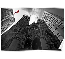 First Presbyterian Church, Front View: Black White Version with USA Color Flag Poster