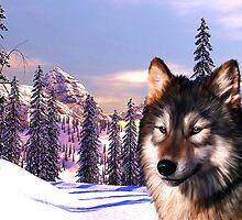 Mountain Wolf Portrait by Michael Greenaway