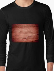 Red bricks wall abstract with dark vignette Long Sleeve T-Shirt