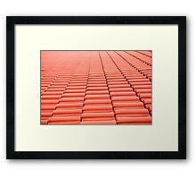 Overlapping rows of red tiles roof  Framed Print