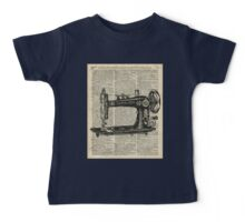 Vintage Sewing machine Dictionary Book Page Baby Tee