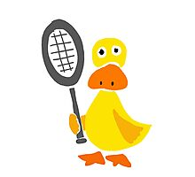 Funky Yellow Duck with Tennis Racquet Photographic Print