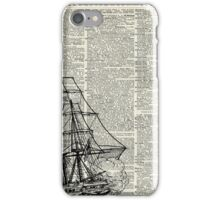 Galleon Ship over Dictionary Page iPhone Case/Skin