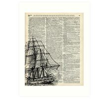 Galleon Ship over Dictionary Page Art Print