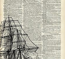 Galleon Ship over Dictionary Page by DictionaryArt