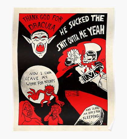 Thanks Drac - Black White and Red All Over Poster