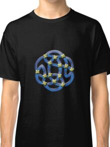 Blue Celtic Knotwork with Yellow Flowers Classic T-Shirt