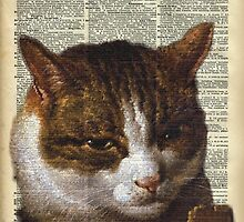 Sneaky cat Vintage collage Dictionary Art by DictionaryArt