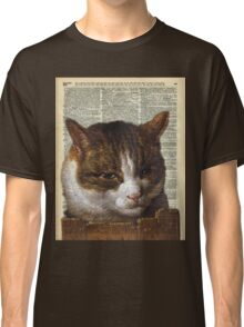 Sneaky cat Vintage collage Dictionary Art Classic T-Shirt