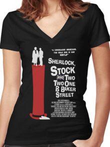 Sherlock, Stock and 221B Baker Street Women's Fitted V-Neck T-Shirt