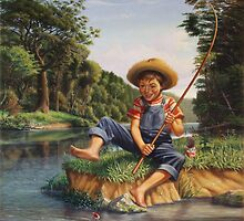 Boy Fishing In River Country Landscape  by Walt Curlee