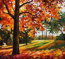 Autumn Forest - Leonid Afremov by Leonid  Afremov