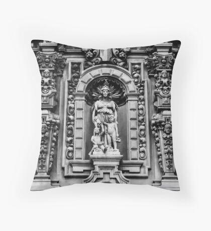 Museum Façade in Black & White Throw Pillow