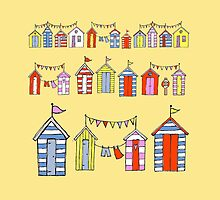lots of beach huts by Wendy Massey