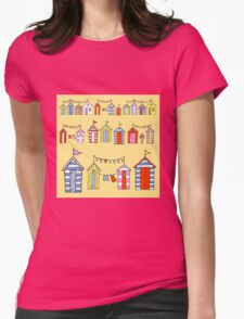 lots of beach huts Womens Fitted T-Shirt