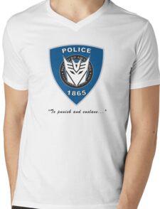 Transformers - Police Logo - Medium Size Logo Mens V-Neck T-Shirt