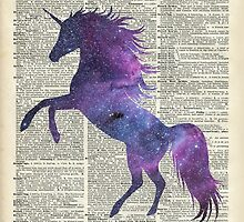 Magic Unicorn in Space Dictionary Art Vintage Book Page by DictionaryArt
