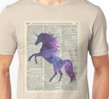 Magic Unicorn in Space Dictionary Art Vintage Book Page Unisex T-Shirt
