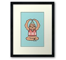 Christmas Kiss Sloth with Mistletoe Framed Print