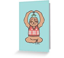 Christmas Kiss Sloth with Mistletoe Greeting Card