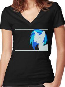 VinylScratch sillhouette Women's Fitted V-Neck T-Shirt