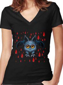 Halloween Bat Women's Fitted V-Neck T-Shirt