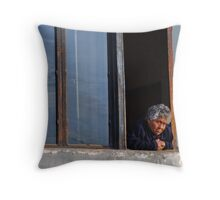 Old Lady by the Window Throw Pillow