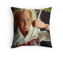 the Bionic Woman with her paper umbrella Throw Pillow