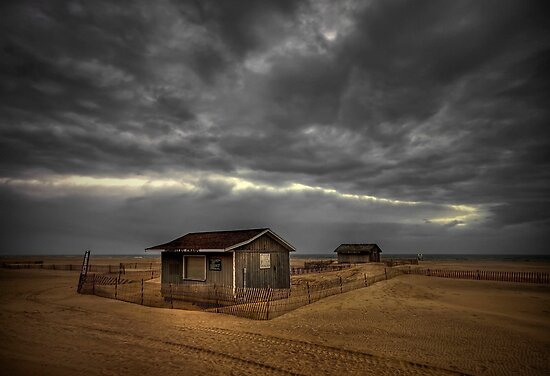 Lonely Beach Shacks by Evelina Kremsdorf