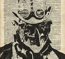 Steampunk guy Robo-man stencil,Robot,Dictionary Art by DictionaryArt