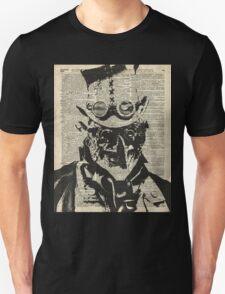 Steampunk guy Robo-man stencil,Robot,Dictionary Art Unisex T-Shirt