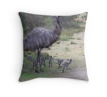 Dad taking the chicks for a walk Throw Pillow