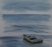 Alone and Blue - lone rowboat on the river by Almeta
