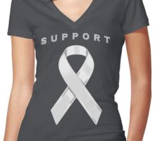 White/Pearl Awareness Ribbon of Support Women's Fitted V-Neck T-Shirt